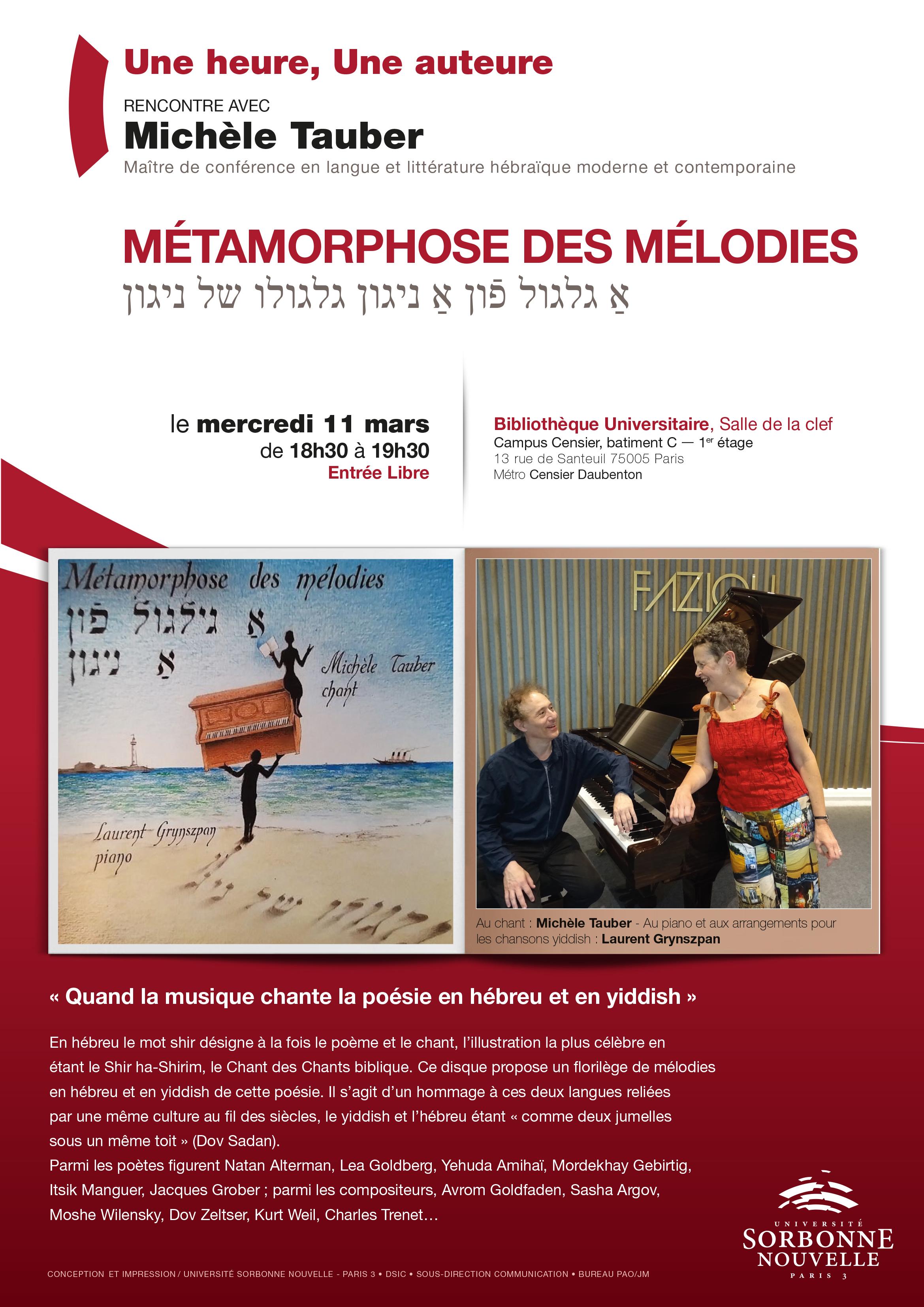 Métamorphose des mélodies, avec Michèle Tauber