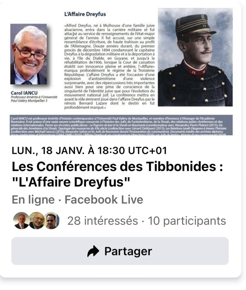Les Conférences des Tibbonides: L'Affaire Dreyfus, avec Carol Lancu