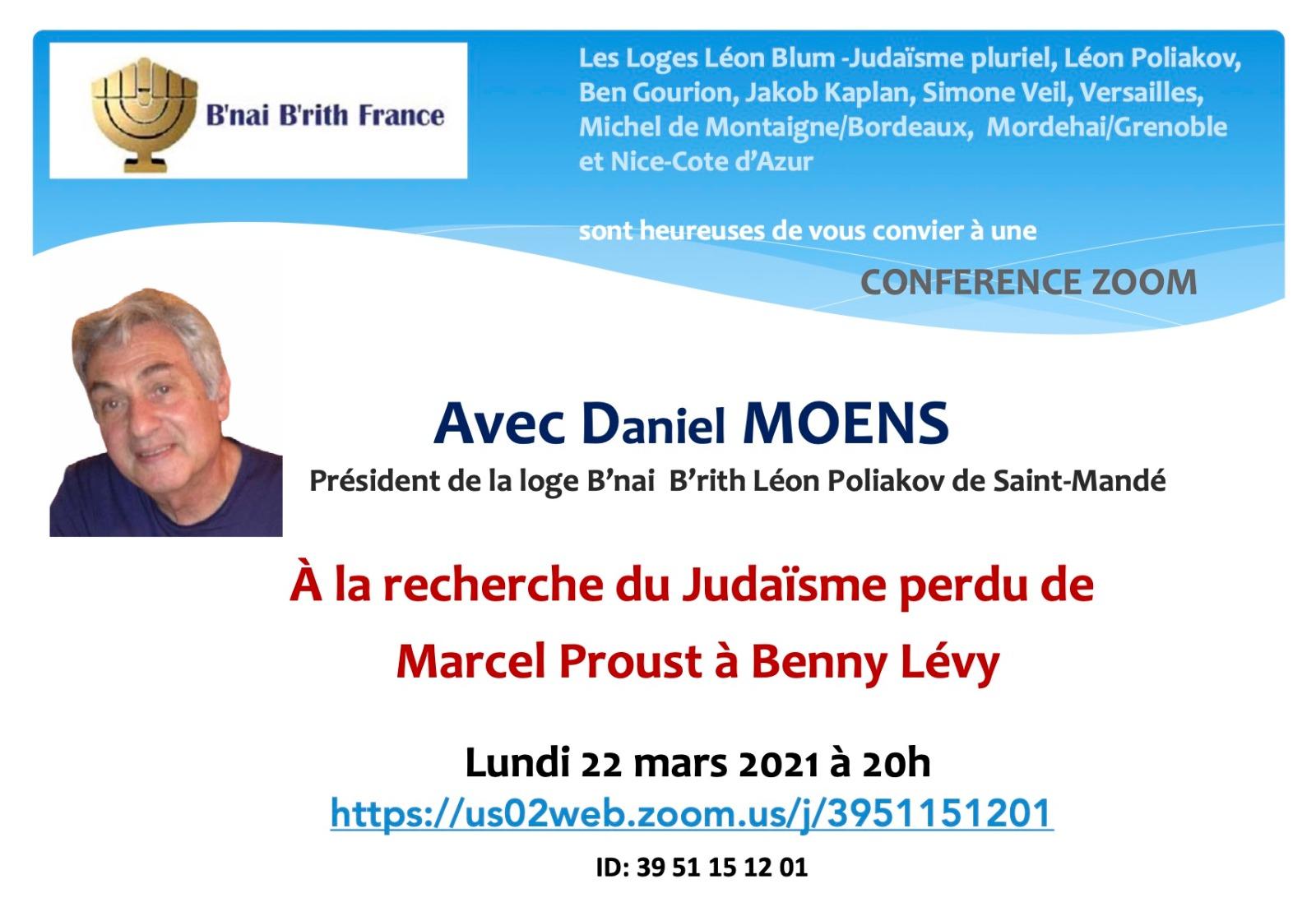 A la recherche du judaisme perdu de Marcel Proust à Benny Levy, avec Daniel Moens