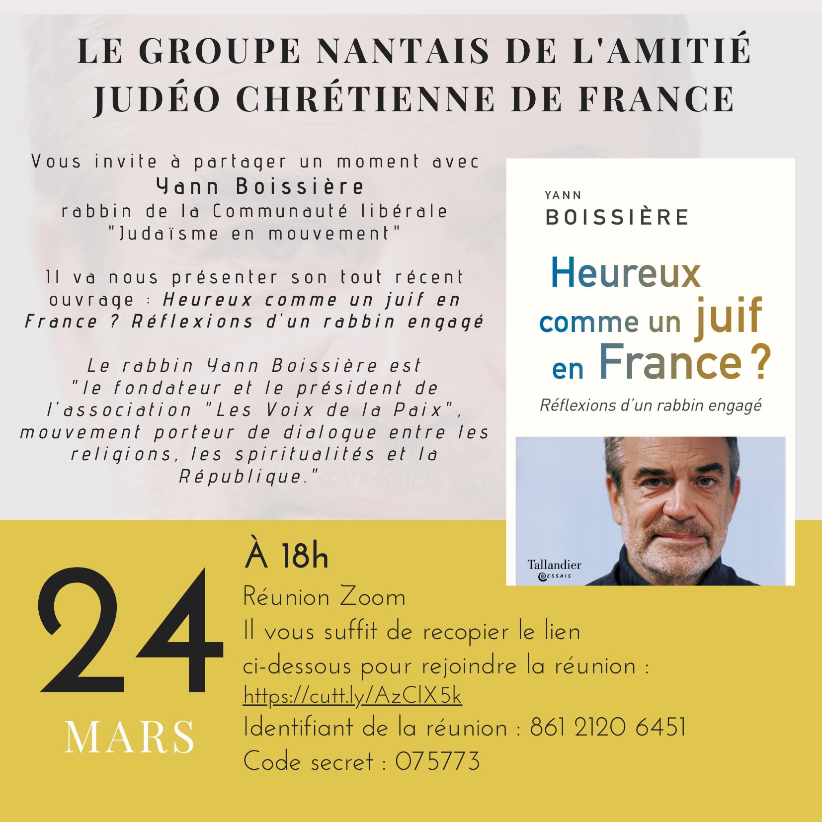 Heureux comme un juif en France? Réflexions d'un rabbin engagé, avec Yann Boissière