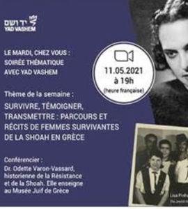 Survivre, témoigner, transmettre: récits et parcours de femmes rescapées de la Shoah en Grèce, avec Odette Varon-Vassard