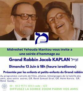 Hommage au Grand Rabbin Jacob Kaplan