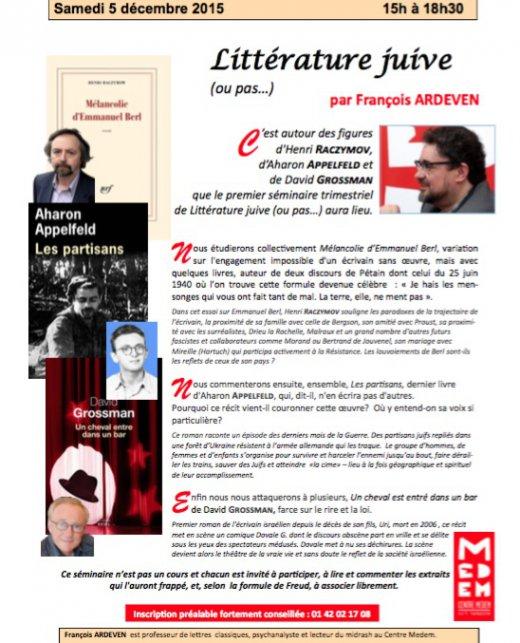 Littérature juive  (ou pas…), avec François Ardeven