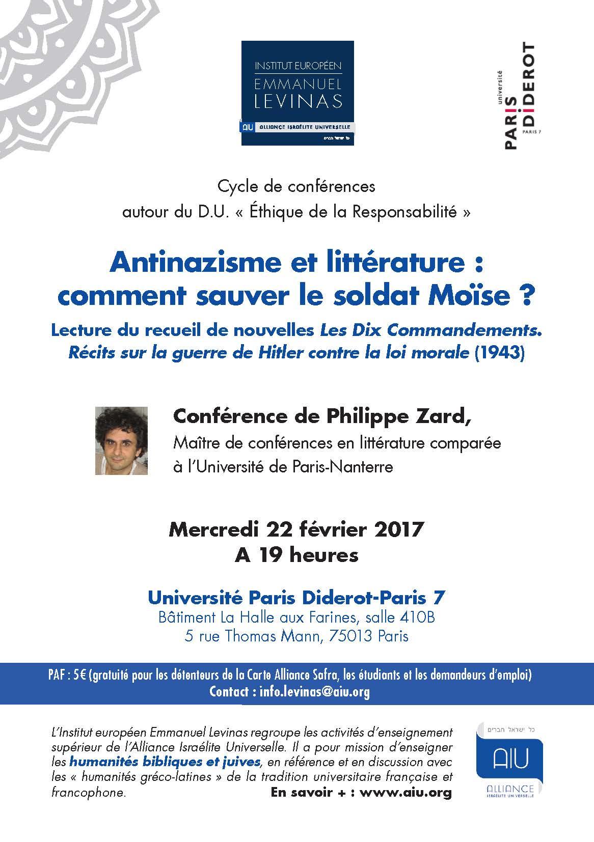 Antinazisme et littérature : comment sauver le soldat Moïse ? Avec Philippe Zard