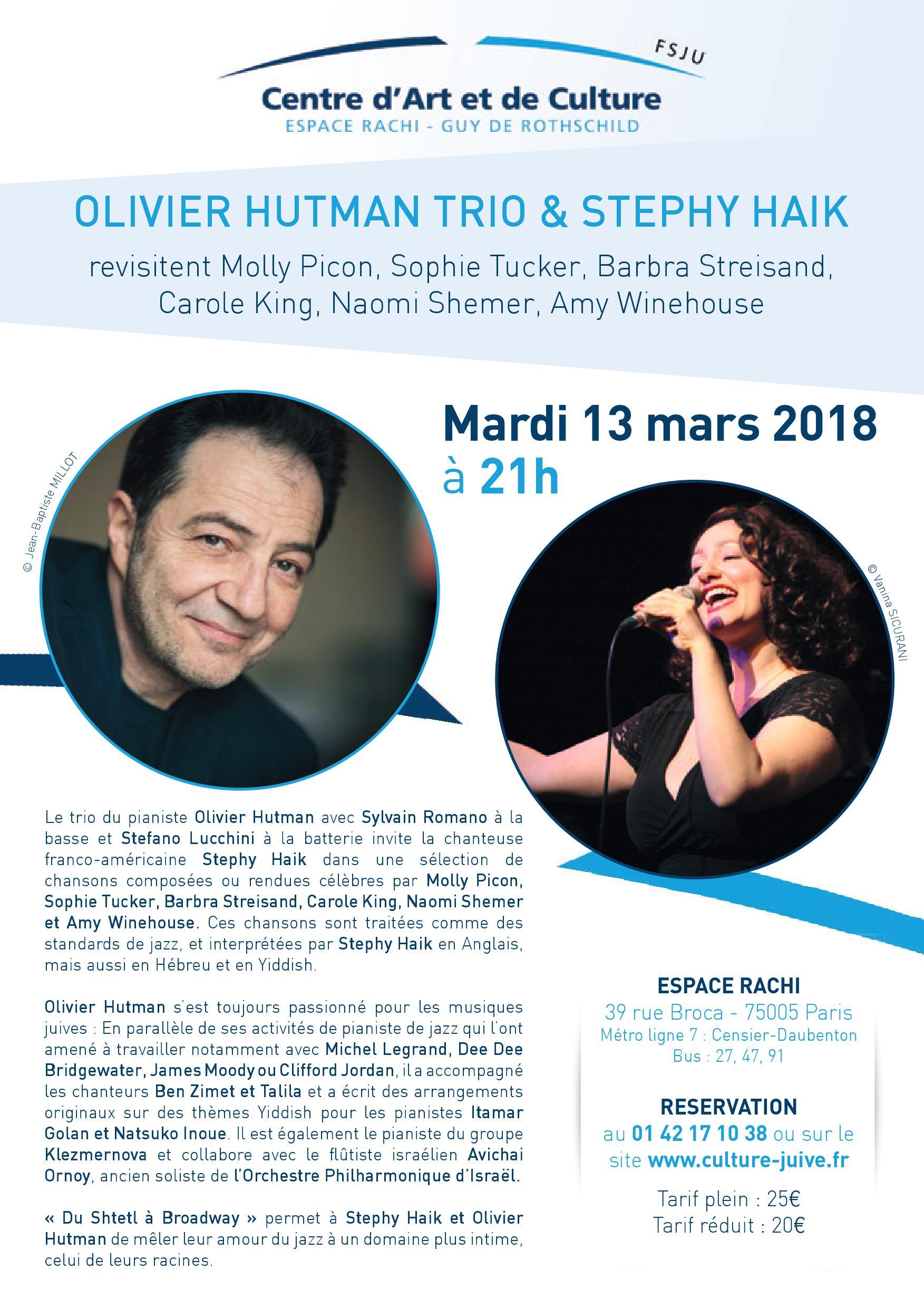 Du Shtetl à Broadway, avec Olivier Hutman Trio et Stephy Haik